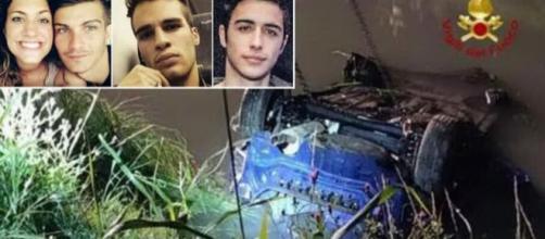 I 4 giovani morti e l'auto finita nel canale