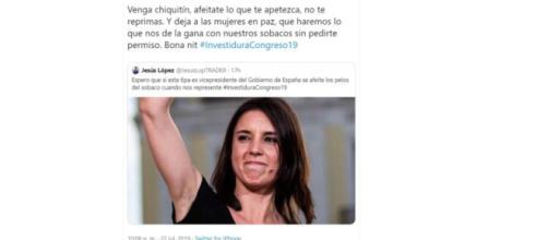 Tuit de Ada Colau por el comentario machista de Jesús López a Irene Montero