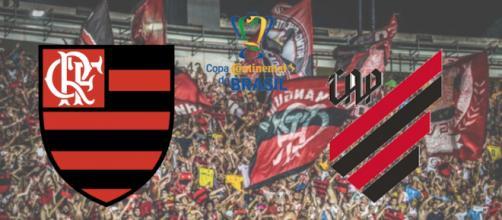 Flamengo x Athletico-PR ao vivo na tv aberta e fechada. (Fotomontagem)