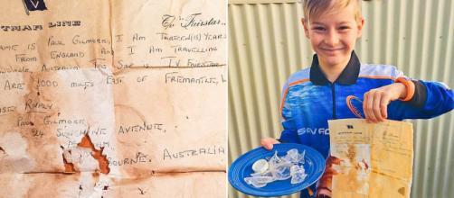 Bambino trova messaggio in bottiglia vecchio di 50 anni - dailymail.co.uk