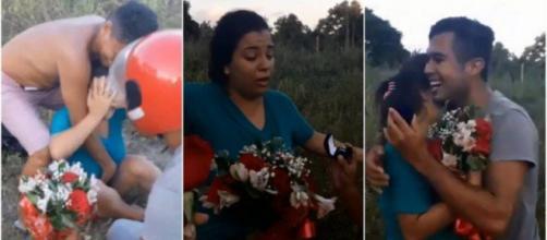Um rapaz se finge de morto para fazer pedido de casamento. (Reprodução/Facebook)
