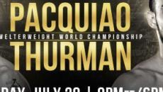 Boxe: a Las Vegas Pacquiao vs Thurman, in palio il mondiale WBA dei pesi welter