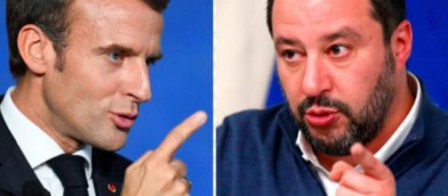 Il presidente Macron e Matteo Salvini