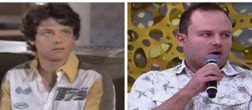 Vitor Morosini em 'Belíssima' e durante entrevista ao 'Superpop'. (Reprodução/Rede Globo/RedeTV!)