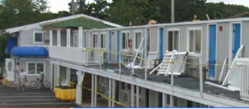 Storm rips roof off Cape Cod Hotel. [Image source/CBS Boston YouTube video]