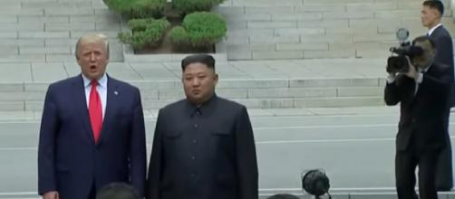 Watch historic meeting between Trump, Kim Jong Un in the DMZ. [Image source/NBC News YouTube video]