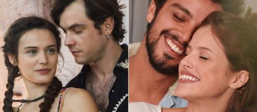 Casais se apaixonaram durante gravação de novelas. (Reprodução/ Rede Globo/ Instagram/ @simasrodrigo)
