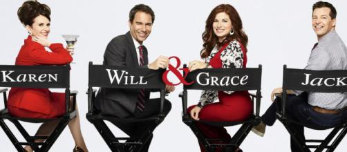 Will & Grace 11 sarà l'ultima stagione. Da sinistra: Megan Mullally, Eric McCormack, Debra Messing e Sean Hayes