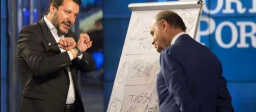 Matteo Salvini insieme a Bruno Vespa