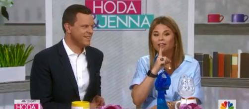 "Willie Geist and Jenna Bush Hager have been having fun on ""Today,"" from books to the bottle cap challenge. [Image source: TODAY-YouTube]"