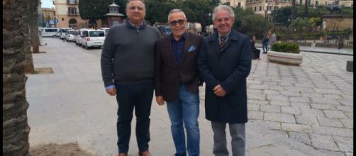 I segretari generali di Spi Cgil, Fnp Cisl e Uilp Uil Sicilia Maurizio Calà, Alfio Giulio e Antonino Toscano.