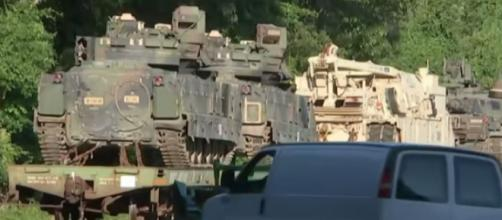 Tanks arrive in D.C. for President Donald Trump's Fourth Of July celebration. [Image source/NBC News YouTube video]