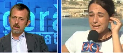 Scontro in diretta tra Delmastro e la portavoce di Mediterranea (Ph. Facebook)