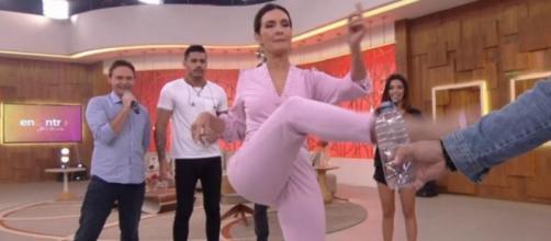 A apresentadora conseguiu cumprir o desafio de primeira. (Reprodução/TV Globo)