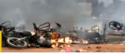 Tanzania fuel tanker explosion kills at least 61 people. [Image source/SABC Digital News YouTube video]