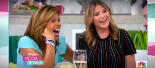 """Today's"" Hoda Kotb gets a birthday surprise from a chicken and Jenna Bush Hager takes a family walk. [Image source:TODAY-YouTube]"