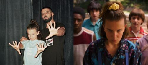 Drake, rapper, assieme a Millie Bobby Brown, attrice.