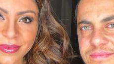 Andressa Ferreira posa com Thammy Miranda e exibe barriguinha saliente: 'felicidade'