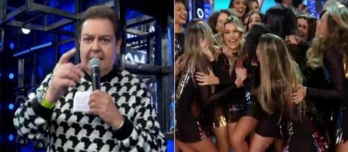 Faustão tira sarro das bailarinas. (Reprodução/ TV Globo)