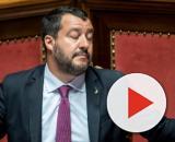 Matteo Salvini dai banchi di Palazzo Madama