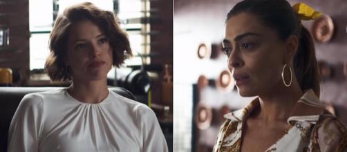 Maria enfrenta Josiane após ser expulsa da fábrica. (Reprodução/Rede Globo)