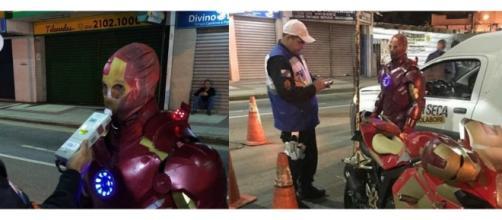 'Super-herói' foi autuado por dirigir sem habilitação e os documentos da moto. (Reprodução/Redes Sociais)