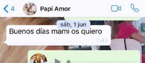 El último mensaje que Reyes mandó a su mujer por WhatsApp. / Instagram