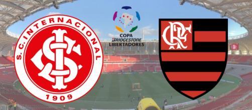 Internacional x Flamengo com transmissão ao vivo na Globo e no SporTV. (Fotomontagem)