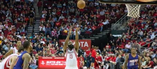 James Harden will be paired with Russell Westbrook in the Rockets backcourt. [Image Source: Flickr | Kretzchke93]