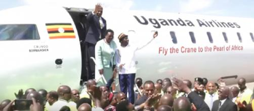 Inside Uganda Airlines Inaugural Flight to Jomo Kenyatta International Airport. [Image source/Ben – LIVE YouTube video]