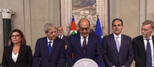 Nicola Zingaretti e gli altri componenti della delegazione Pd durante le consultazioni