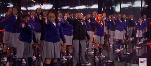 "The Detroit Youth Choir celebrates a magical night after becoming ""America's Got Talent"" semifinalists. [Image source: AGT-YouTube]"