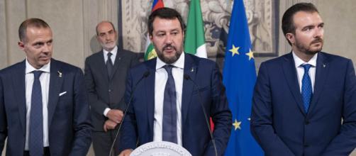 Matteo Salvini con la delegazione della Lega in occasione delle consultazioni