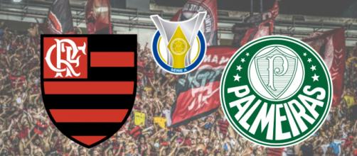 Flamengo x Palmeiras terá transmissão ao vivo na TV aberta e fechada. (Fotomontagem)