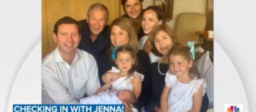 'Today's' Jenna Bush Hager, and her family, greet baby son Hal born just after she left the air. [Image source:TODAY-YouTube]