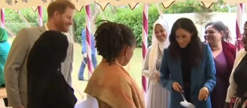 Meghan Markle praises women at Grenfell cookbook launch. [Image source/BBC News YouTube video]