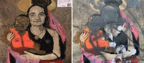 Taormina, imbrattato il murales che rappresentava Carola Rackete