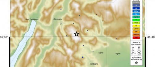 Terremoto Vallarsa, magnitudo 3.4