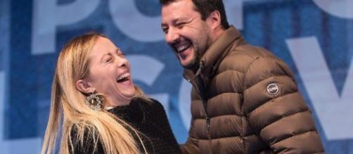 Giorgia Meloni, leader di Fratelli d'Italia, e Matteo Salvini
