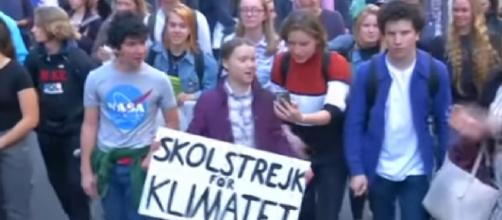 Teenage climate star Greta Thunberg takes her Friday school strike to UN. [Image source/VOA News YouTube video]