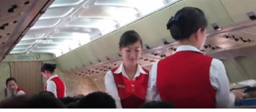 Inside North Korea's One Star Airline. [Image source/Sam Chui YouTube video]