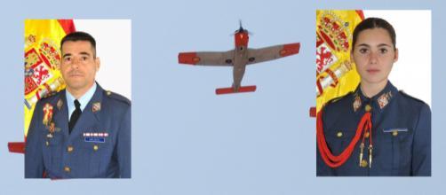El comandante Melero y la cadete Almirón, fallecidos en accidente de vuelo en Murcia.