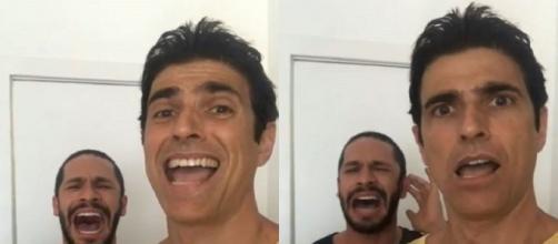 Reynaldo Gianecchini filma Rainer Cadete cantando e se impressiona com a voz do ator. (Reprodução/Instagram/@reynaldogianecchini)