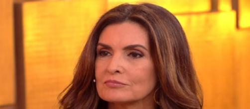 Esposa de William Bonner aparece no telão do Encontro. (Reprodução/ TV Globo)