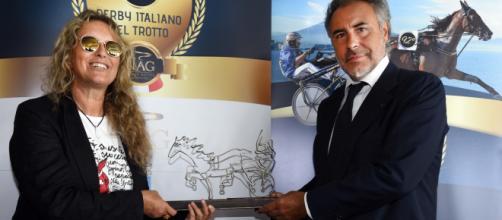 Paola De Crescenzo e Pier Luigi D'Angelo, presidente della Ippodromi Partenopei.