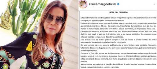 Zilu Camargo reafirmou ter sido enganada pelo ex-marido em partilha de bens. (Reprodução/Instagram/@zilucamargooficial)
