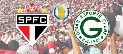 São Paulo x Goiás: equipes duelam com transmissão ao vivo do Premiere. (Fotomontagem)