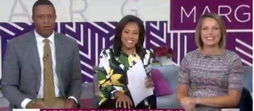 Craig Melvin, Sheinelle Jones and Dylan Dreyer all have reason to smile at Margaret Cho's puppy on 'Today.' [Image source:TODAY/YouTube]