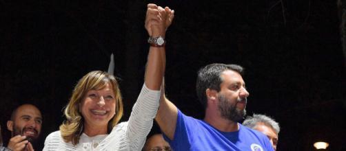La candidata del centrodestra Donatella Tesi con Matteo Salvini