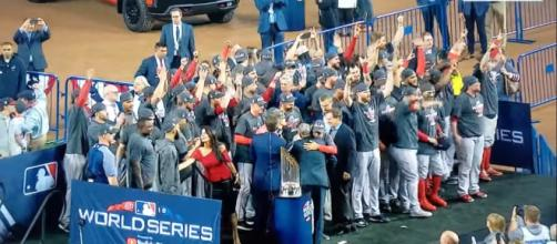 Red Sox celebrating their World Series win in 2018. [image source: Highlights from A-Z- YouTube]